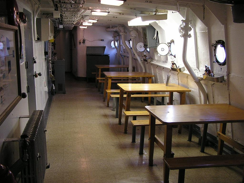 The Crews Mess, looking aft